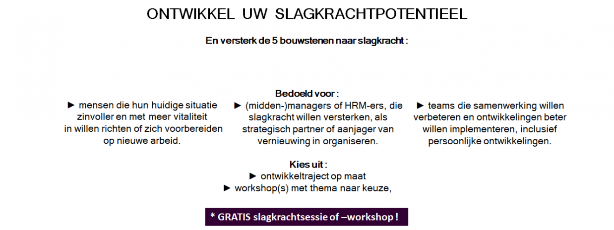 Gratis slagkrachtsessie of -workshop
